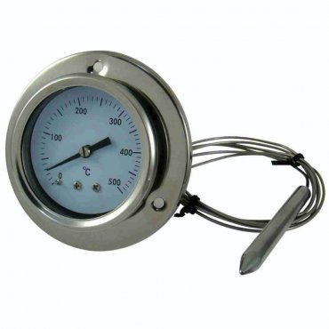 Stainless steel 500 °C thermometer for oven with flexible probe and fixing with screws